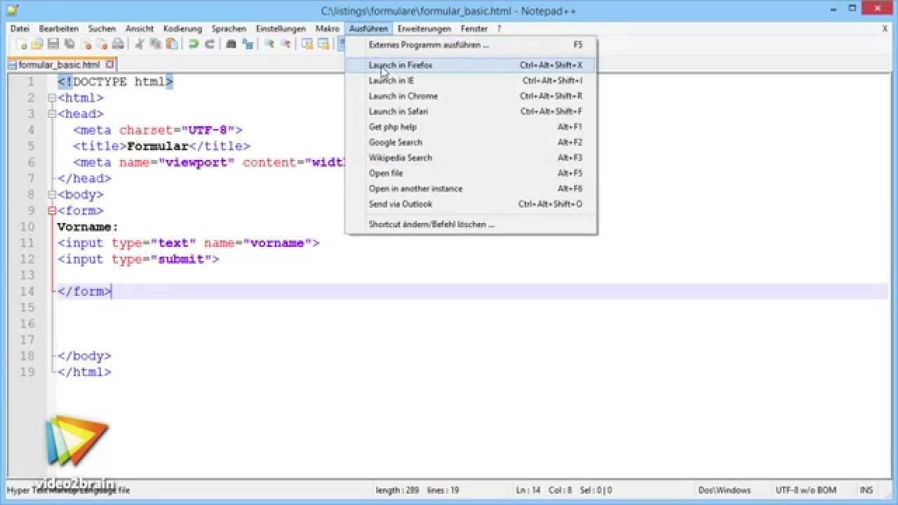 Formulare mit HTML und CSS Tutorial Formular definieren – so geht's   video30brain.com