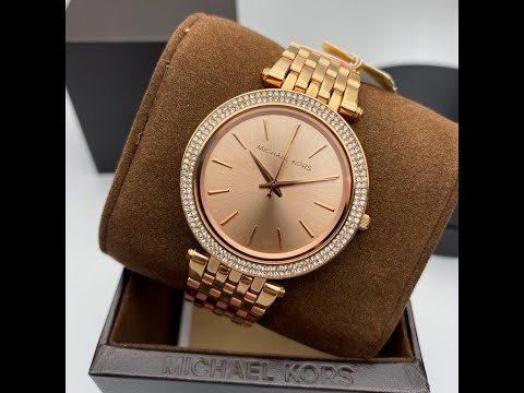 MK邁克科爾斯女錶,編號MK3192,38mm玫瑰金圓形精鋼錶殼,玫瑰金色簡約, 水晶鑽圈錶面,玫瑰金色精鋼錶帶款