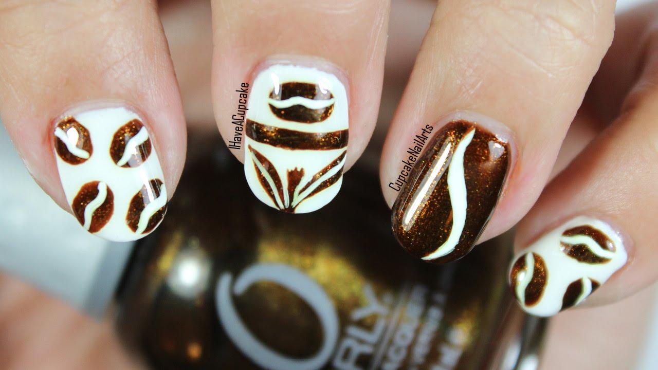 Coffee Bean And Tea Leaf Inspired Nail Art Youtube