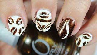 Coffee Bean And Tea Leaf Inspired Nail Art