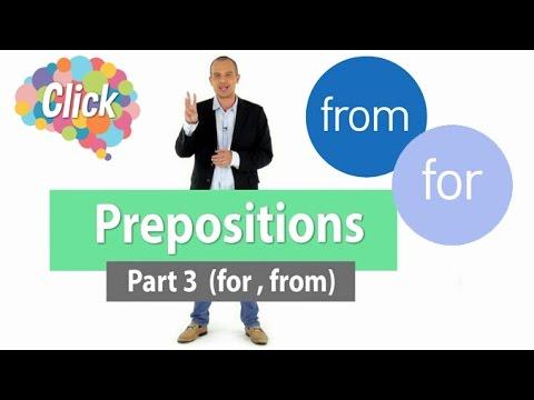 Click  [by Mahidol] Prepositions - Part 3 (for, from) - การใช้ และตัวอย่างประโยคภาษาอังกฤษมากมาย