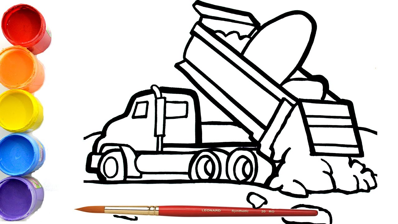 🔴Cara Menggambar dan Mewarnai Mobil Box Mainan | dump truck clipart | Belajar Menggambar Untuk Anak
