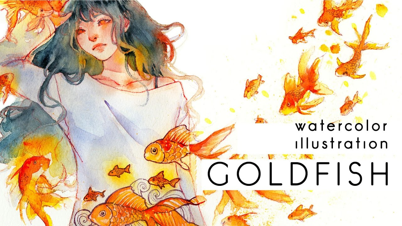 goldfish watercolor illustration youtube