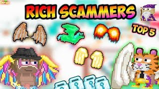 Top 5 Rich Scammers !! ( Famous Scammers ) | GrowTopia