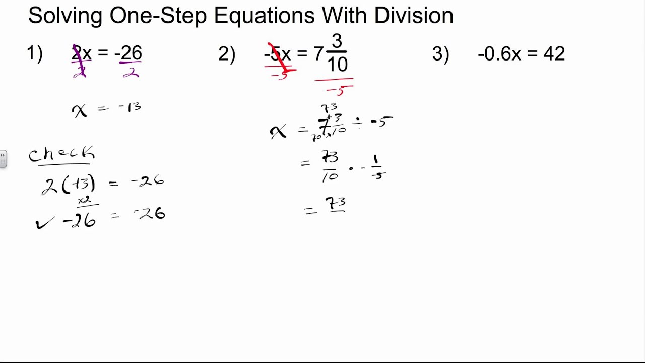 worksheet Algebra 1 Equations solving one step equations with division algebra 1 how to youtube