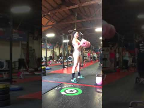 2KB swing + high pull + clean + front squat and Russian twists