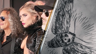 Lady Gaga Stuns 2017 Grammys Red Carpet, Nearly Naked with HUGE Metallica Tattoo!!