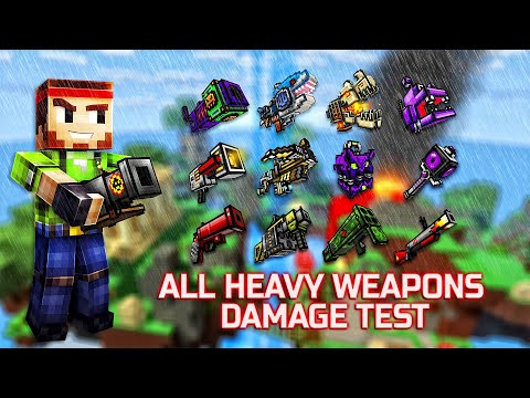 Pixel Gun 3D - ALL Heavy Weapons Shots Damage + Reloading Animations