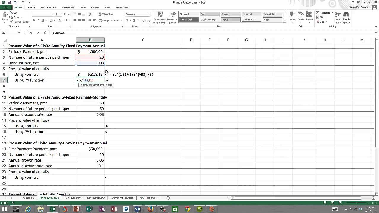 present value annuity table excel
