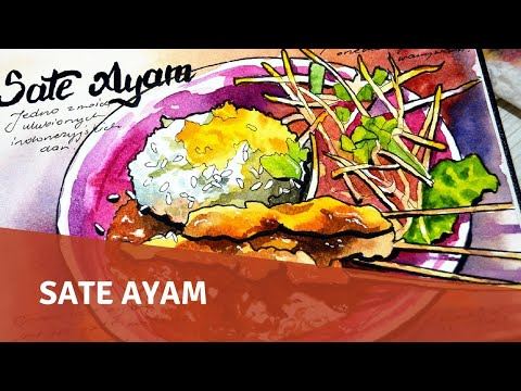 Food Sketch with Watercolor and Ink - Sate Ayam