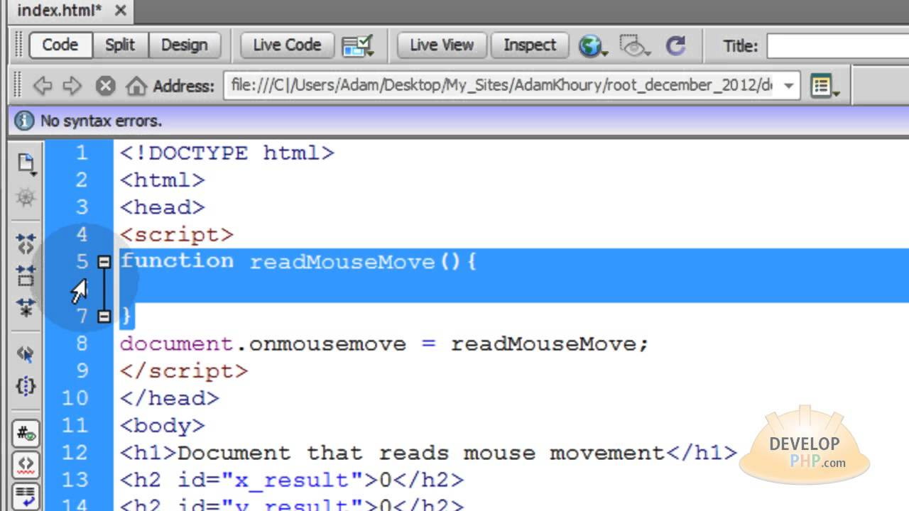 Read Mouse Coordinates Position X and Y JavaScript Tutorial HTML CSS