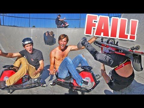 DRIFT CART RACE AT SKATEPARK! *crashed*