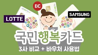 국민행복카드 롯데, 삼성 ,BC 3개사 비교 및 바우처…