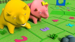 Дино и Дина играют в КЛАССИКИ - Учим цифры с динозавриком Дино 👶 Обучающий мультфильм