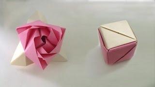 Оригами роза. Модульная роза, куб трансформер. Origami Rose, the cube transformer.(Оригами роза. Схема, модульная роза цветок из бумаги, куб трансформер. Сделать магическую розу из бумаги...., 2014-11-16T00:31:10.000Z)