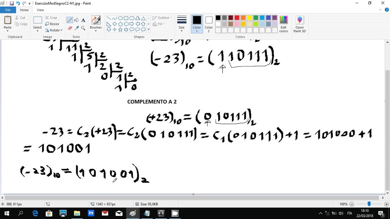 da binario a decimale complemento a 2