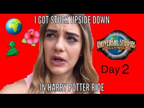 I GOT STUCK UPSIDE DOWN DURING HARRY POTTER RIDE(day 2 in California)|| Kennedy Huff