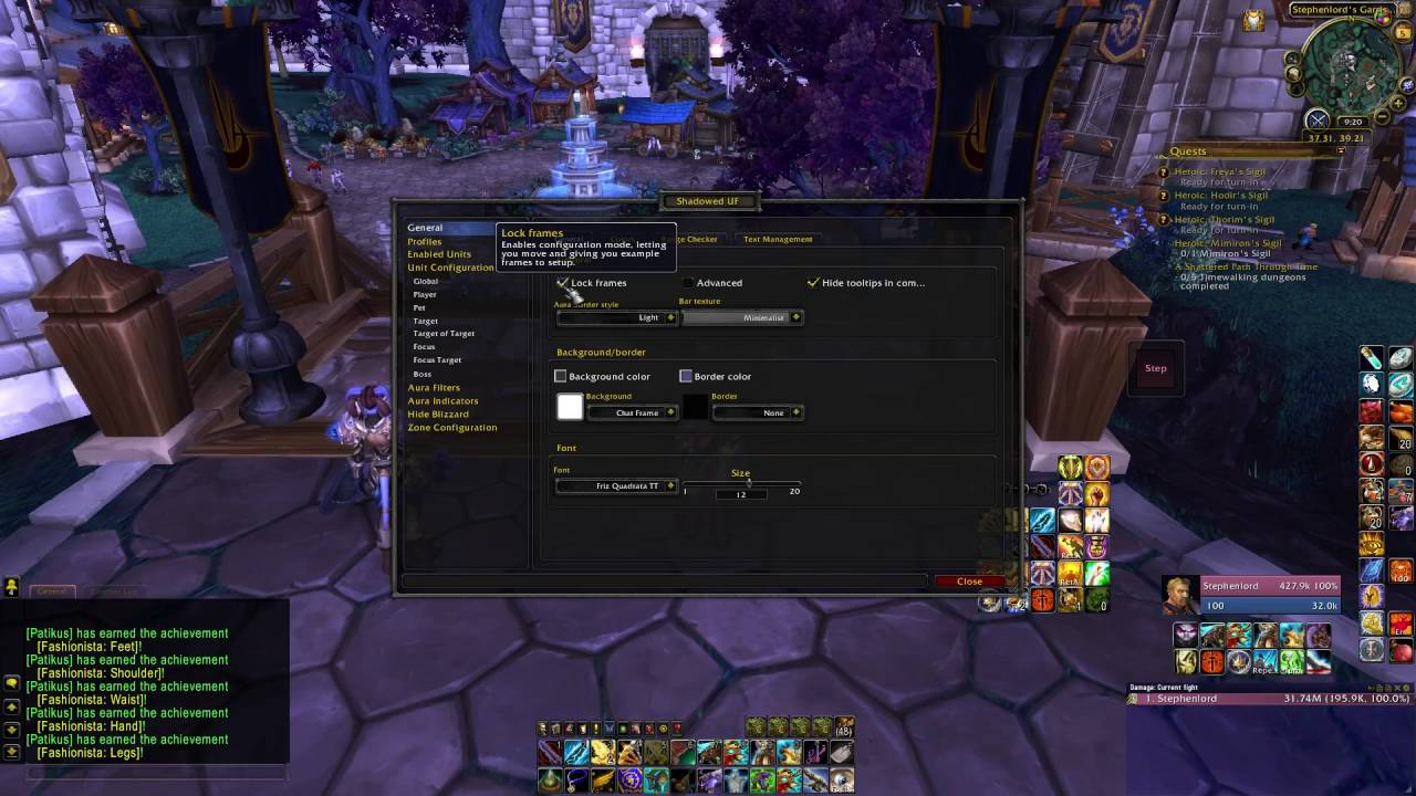 World of Warcraft Addons: Featuring Shadowed Unit Frames - Set-up and  Configuration