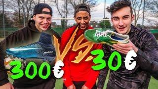300€ VS 30€ SCHUHE FUßBALL CHALLENGE!! *TEUER VS BILLIG*