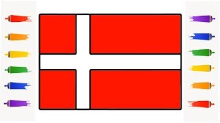 How to Draw Denmark flag Coloring for Kids Learn Easy Step by Step || Little Channel || Danish flag