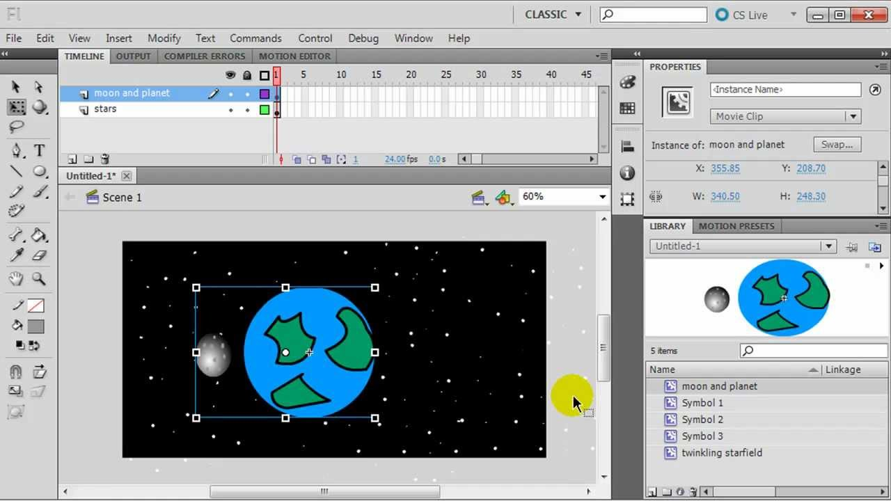 Flash animation with symbols planet with orbiting moon and twinkling stars youtube