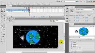 Flash Animation with Symbols: Planet with Orbiting Moon and Twinkling Stars