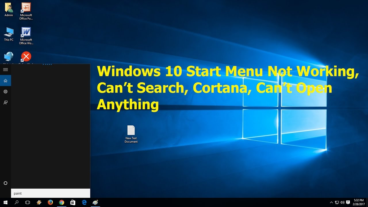win 10 start menu search not working