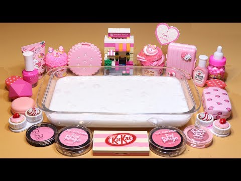 "Theme Series #9 ""PinkFood"" Mixing Makeup,EYESHADOW And glitter,clay Into Slime! ""PinkFoodSilme"""