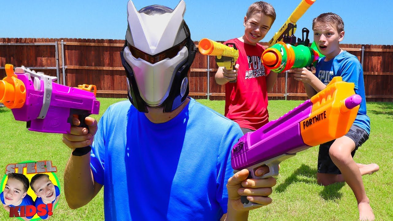 FORTNITE Skins SNEAK ATTACK In Real Life!  PAYBACK TIME! | Steel Kids