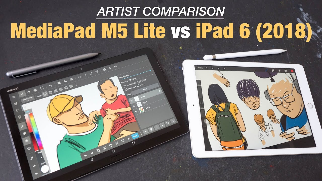 Huawei MediaPad M5 Lite vs IPad 2018 (Artist Comparison)
