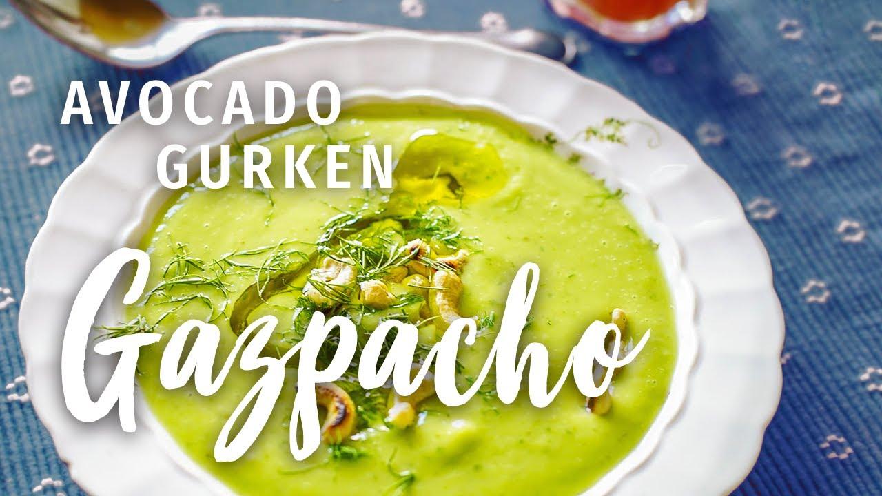 Gazpacho Rezept (Avocado Gurken Suppe) | Spanische Suppe (vegane Suppe) mal anders!