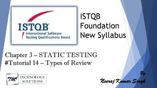 ISTQB Foundation Level 2018 | 3.2 Types of Review | ISTQB Tutorials