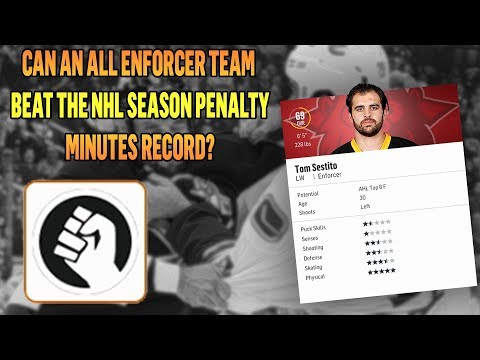 CAN AN ALL ENFORCER TEAM BEAT THE NHL SEASON PENALTY MINUTES RECORD? | NHL 18 Challenge