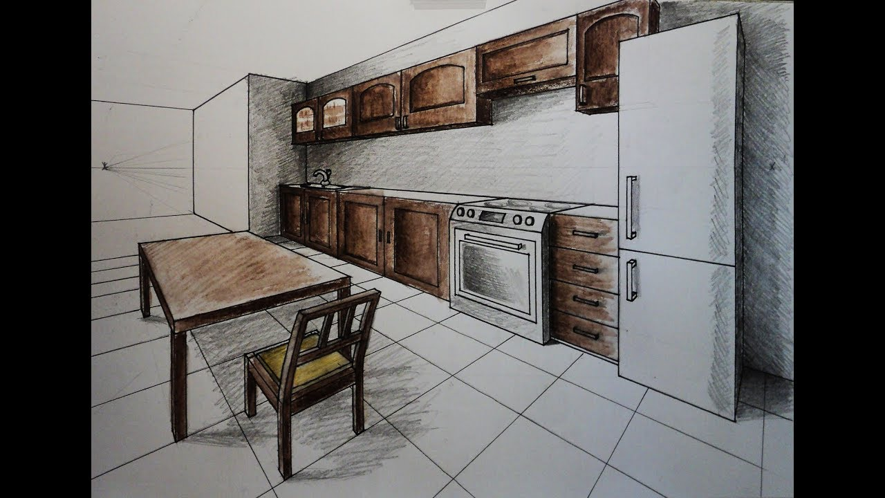 How To Draw Two Point Perspective Kitchen With Furniture