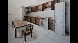 How to draw - two point perspective kitchen with furniture, desk, chair