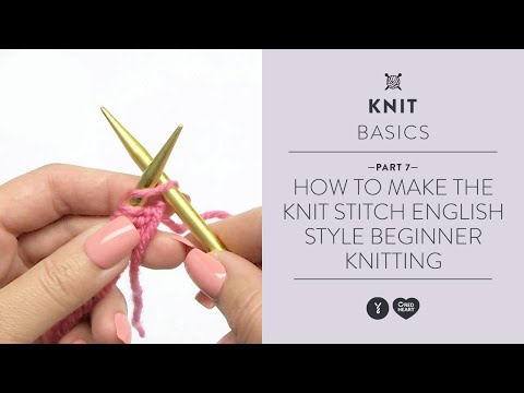 How to Make the Knit Stitch Continental Style - Beginner Knitting Teach Video #7