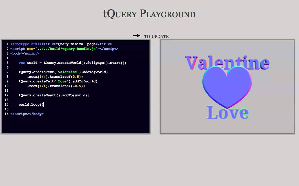 a Valentine card in tQuery - Learning Three js