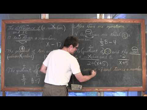 Variables Defined & Writing Algebraic Expressions
