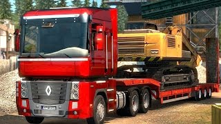 Euro Truck Simulator 2 - Renault Magnum 6x4 Picking Up a Low bed Trailer