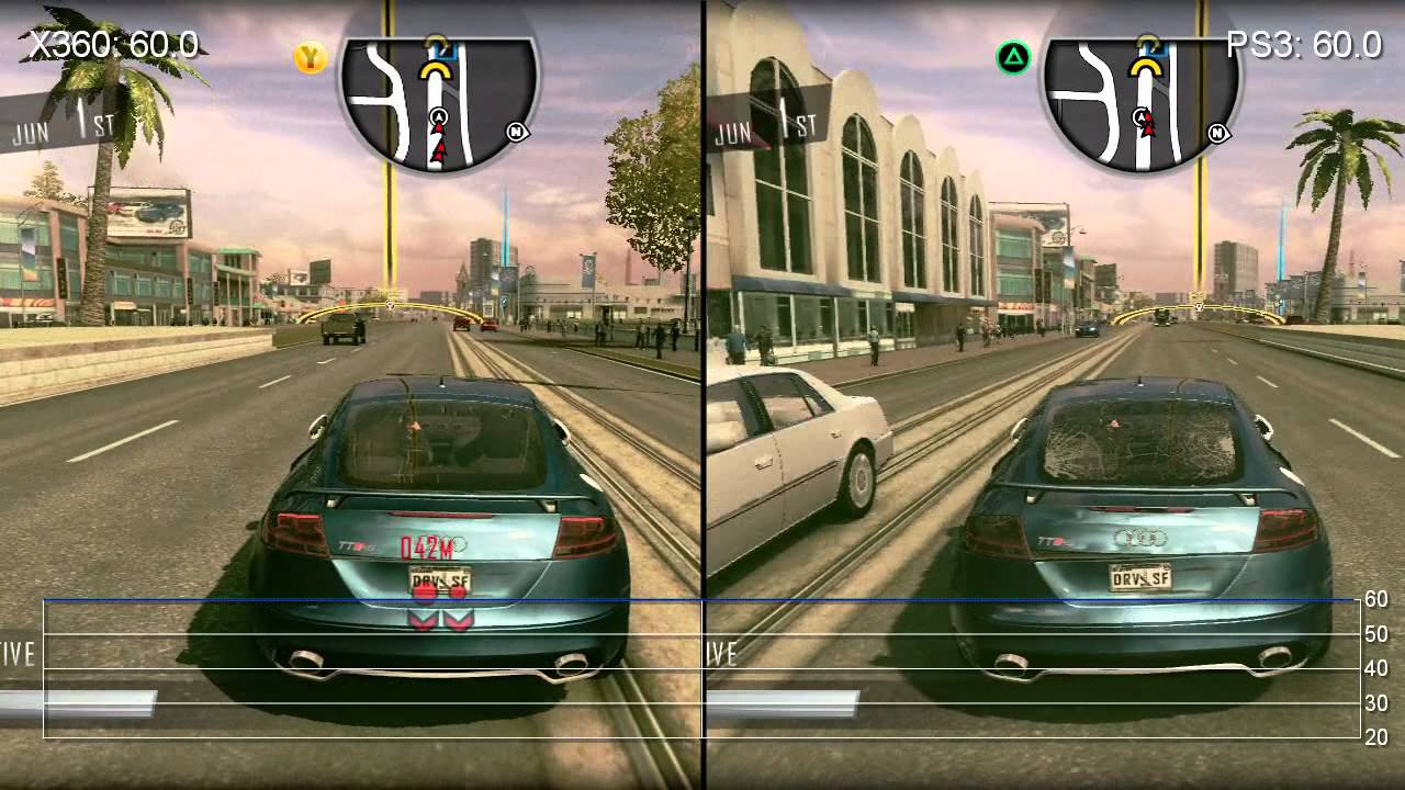 Driver San Francisco Ps3 Xbox 360 Frame Rate Comparison Youtube