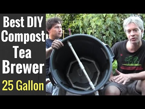 Best DIY Compost Tea Brewer made with a Garbage Can & PVC Pi