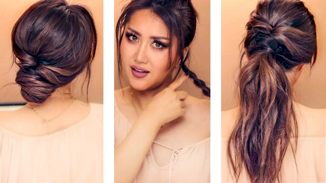 ★ 2-min everyday hairstyles for work & school 💗 with puff 💗 easy updos for long 💗medium hair