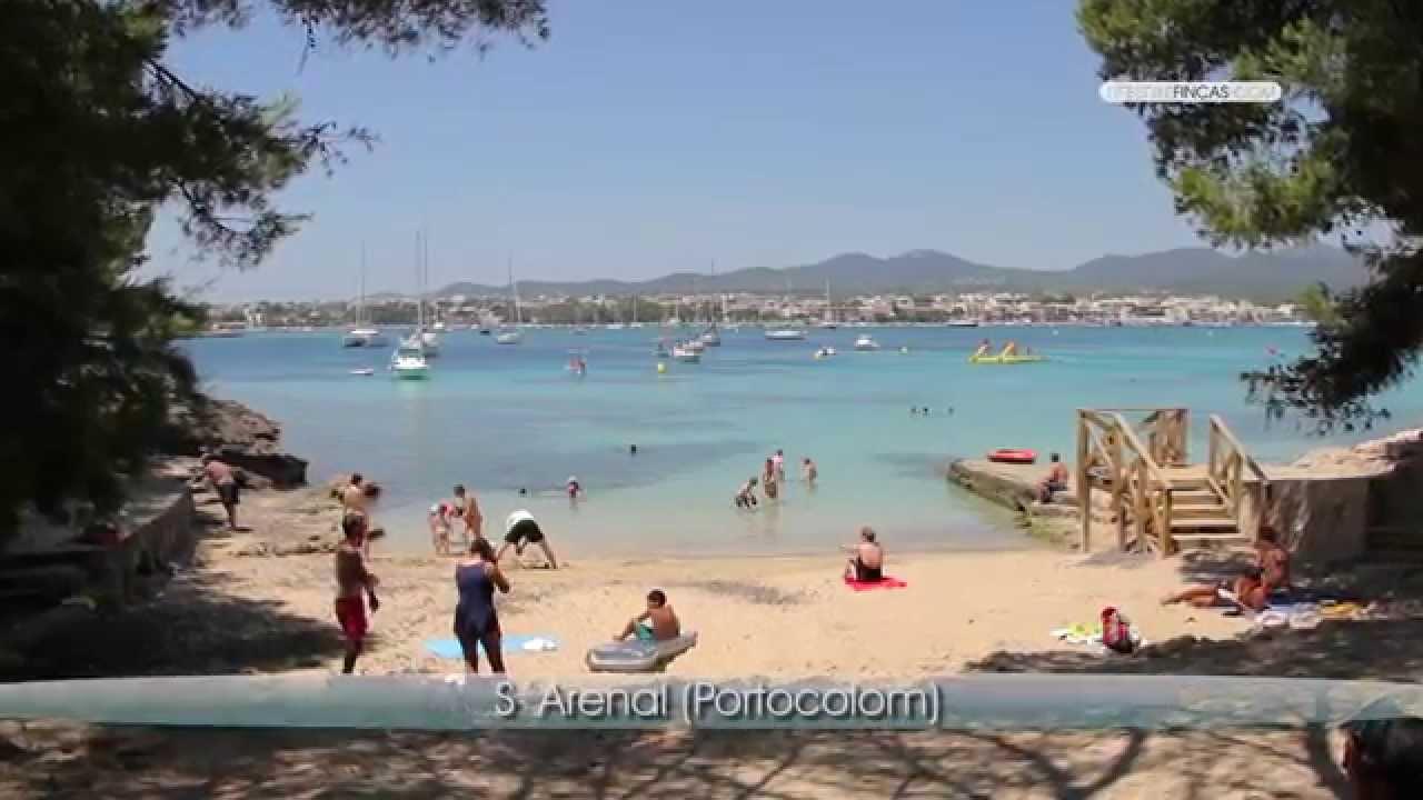 Strand Porto Colom Cala S Arenal Südosten Mallorca Blue Bar