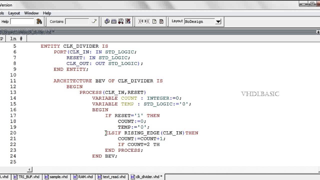 VHDL BASIC Tutorial - Clock Divider