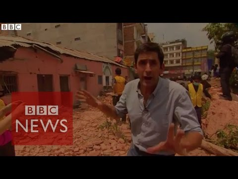 Moment Nepal aftershock hits caught on camera - BBC News