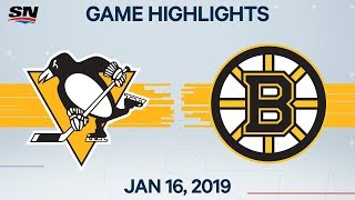 NHL Highlights | Penguins vs. Bruins - Jan. 16, 2020