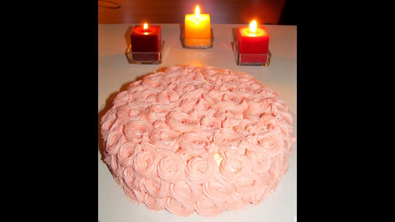 Easy cake decorating tutorial - Decorate a Birthday Cake with Rose ...