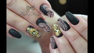 простая коррекция классический миндаль/абстракция и цветы/матовые ногти