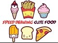 Speed Drawing : How to Draw Cute Food with Faces Easy Step by Step Kawaii Cartoons for Kids