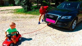 Dad's car broke down! Andrew helps dad! A funny story Andrei and Irochka info
